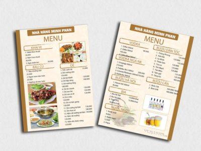 Chỗ in menu quán ăn, quán cafe theo yêu cầu